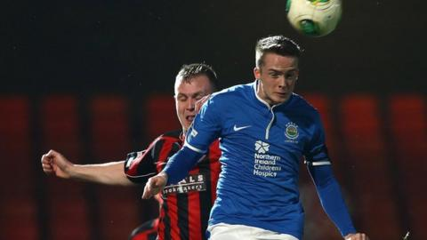 Match action from Linfield against Crusaders