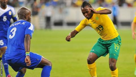 Kelly Youga (left) in action against South Africa in a World Cup qualifier in 2013