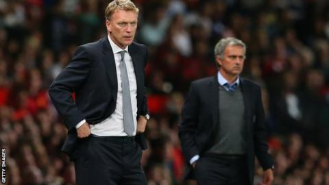 Manchester United manager David Moyes and Chelsea manager Jose Mourinho (right)