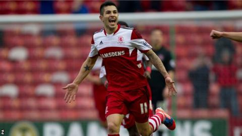 Middlesbrough winger Emmanuel Ledesma after scoring against Charlton Athletic