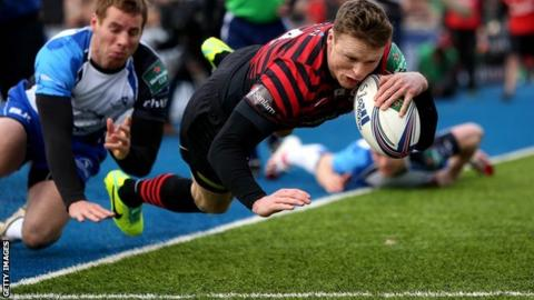 Chris Ashton dives over to score Saracens' first try in the win over Connacht