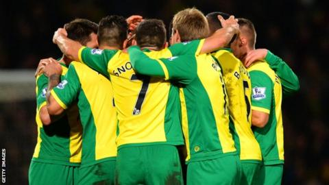 Norwich City players celebrate the goal that beats Hull City