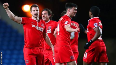 Yann Kermogant celebrates scoring for Charlton