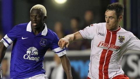 Stevenage in action against Everton earlier this season