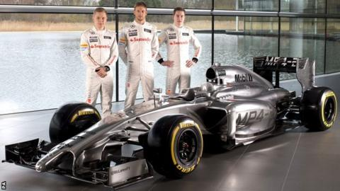 McLare's new MP4-29 with drivers Kevin Magnussen , Jenson Button and Stoffel Vandoorne