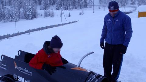 Katherine Grainger meets the GB bobsleigh team and tries her hand at getting into it