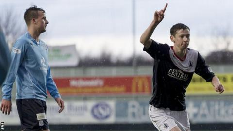 Conor McGrandles celebrates after scoring for Falkirk against Dundee