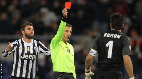 Juventus goalkeeper Gianluigi Buffon is sent off against Lazio.