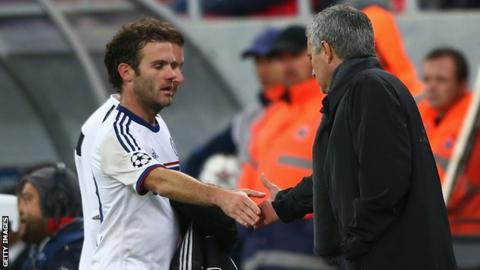 Jose Mourinho and Juan Mata