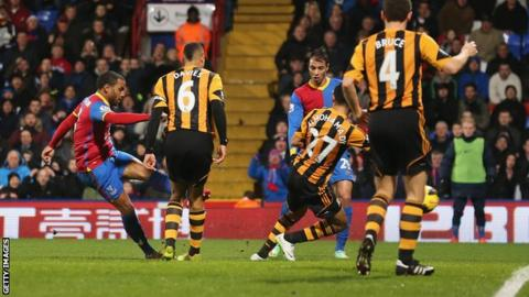 Jason Puncheon scores for Crystal Palace against Hull City.