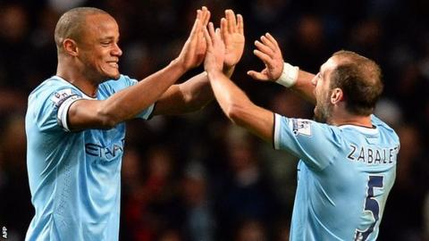 City players Vincent Kompany and Pablo Zabaleta