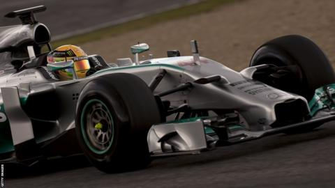 Mercedes' British driver Lewis Hamilton in action on day one of Formula One pre-season testing at Jerez