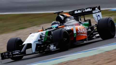 Sergio Perez of Mexico and Force India drives the new VJM07 during day one at Jerez