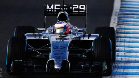 Jenson Button drives the new McLaren during day two of Formula 1 winter testing at Jerez