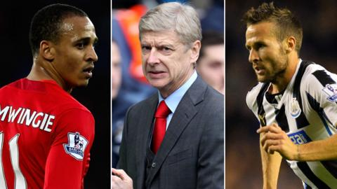 Peter Odemwingie, Arsene Wenger and Yohan Cabaye