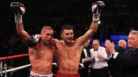 Tony Bellew and Nathan Cleverly after their fight in 2011