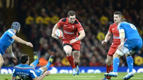 George North bursts through a gap for Wales against Italy in the opening match of the Six Nations at the Millennium Stadium