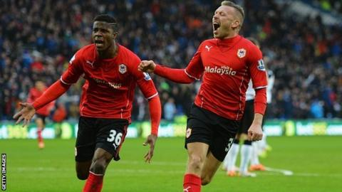 Wilfried Zaha & Craig Bellamy celebrate