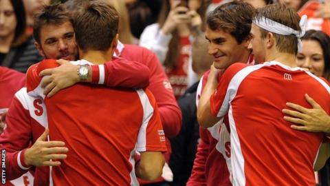 Switzerland celebrate in Davis Cup