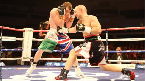 Gary Buckland (left) wins a split decision over former world champion Gavin Rees in their British lightweight title eliminator at the Motorpoint Arena in Cardiff.