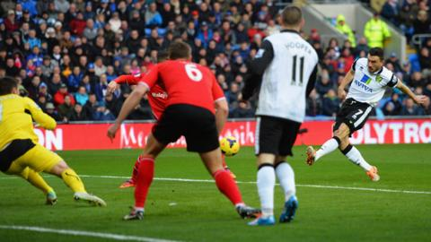 It's a disastrous start for Cardiff City against Norwich as Peter Snodgrass fires past David Marshall to give the Canaries an early lead