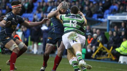 Wales and British and Irish Lions centre Jonathan Davies receives a hot reception from London Irish on his return to action after injury