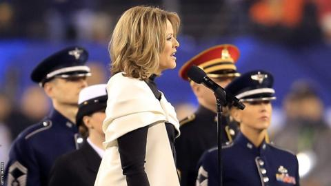 Opera singer Renee Fleming sings the national anthem before the Seattle Seahawks take on the Denver Broncos during Super Bowl XLVIII at MetLife Stadium