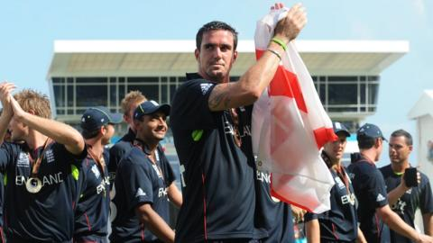 Kevin Pietersen leads an England lap of honour at the Kensington Oval in Barbados after winning the ICC World Twenty20
