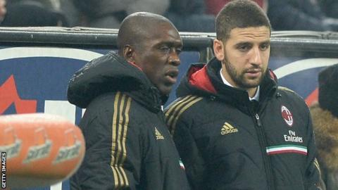 Adel Taarabt (right) with AC Milan coach Clarence Seedorf