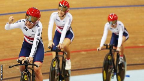 Laura Trott, Dani King and Elinor Barker British Cycling