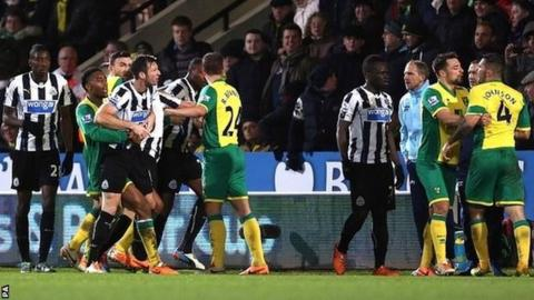 Norwich and Newcastle players clash at Carrow Road on 28 January