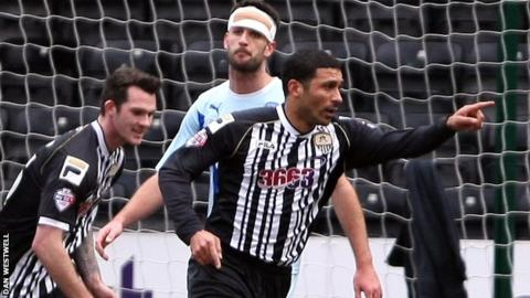 Hayden Mullins celebrate's Notts County's opening goal against Coventry