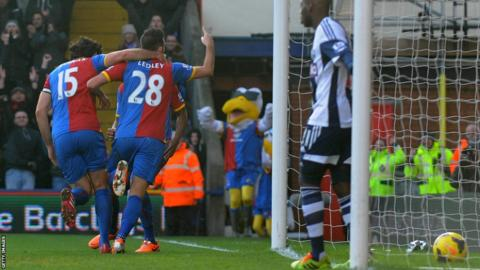 Joe Ledley celebrates scoring on his Crystal Palace debut as they beat West Brom 3-1