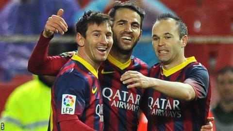 Lionel Messi, Cesc Fabregas and Andres Iniesta