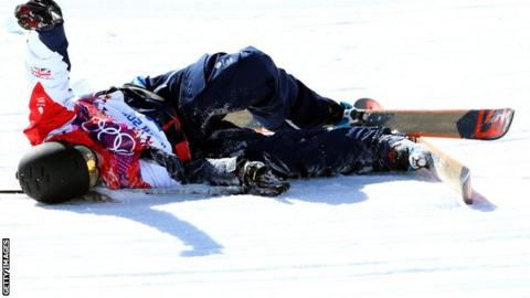 James Woods crashes in Sochi 2014 practice