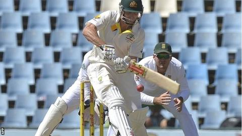 Australia batsman Shaun Marsh during his century against South Africa in Pretoria