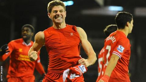 Liverpool captain Steven Gerrard celebrates his winner against Fulham