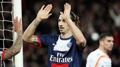 Zlatan Ibrahimovic celebrates scoring for Paris St-Germain against Valenciennes