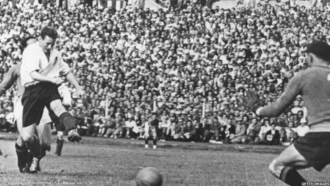 Sir Tom Finney scores against Italy