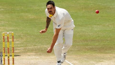 Mitchell Johnson in full flight for Australia