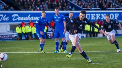 Ryan Conroy scores a penalty for Dundee against Queen of the South