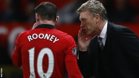 Man Utd striker Wayne Rooney (left) and manager David Moyes