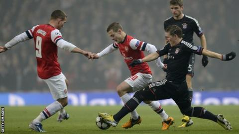 Bayern Munich midfielder Bastian Schweinsteiger (right) tackles Arsenal's midfielder Jack Wilshere (centre)