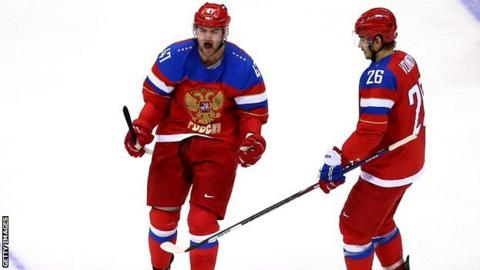 Alexander Radulov of Russia celebrates