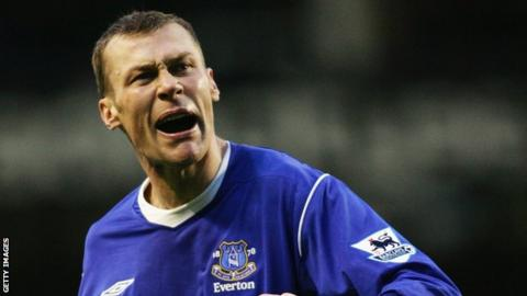 Duncan Ferguson while playing for Everton