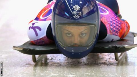 Shelley Rudman in action at the 2014 Winter Olympics in Sochi
