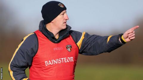 Antrim manager Kevin Ryan shouts out instructions to his players in last weekend's defeat by Wexford