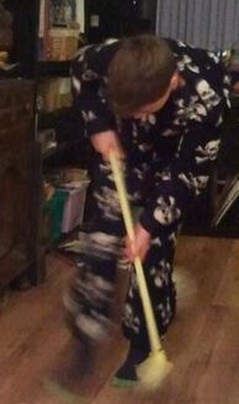 T-J Hughes' son Ben tries a spot of curling