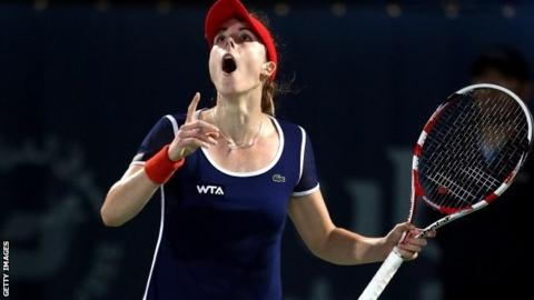 Alize Cornet celebrates her win over Serena Williams