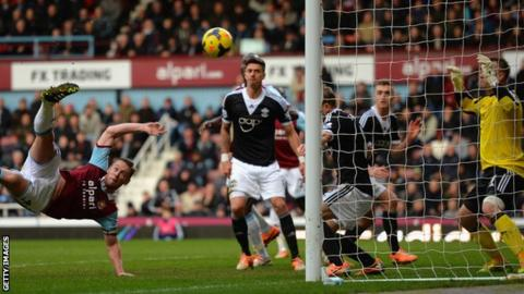 Kevin Nolan of West Ham scores against West Ham